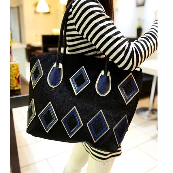 Fashion Women Handbag Geometric Patterns Shoulder Bag Big Bag