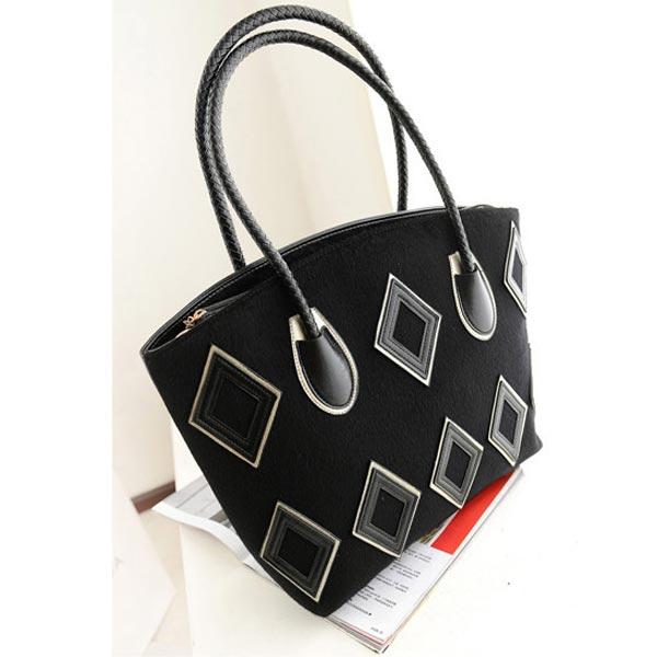 Fashion Women Handbag Geometric Patterns Shoulder Bag Big Bag Black