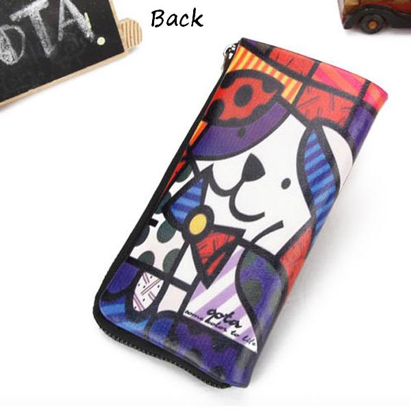 Women Genuine Leather Zipper Wallet Cartoon Long Wallet Colored Drawing Wallet