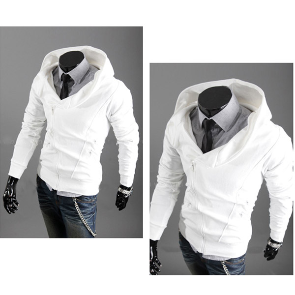 Mens Zipper Up Hoodies Big Collar Jackets