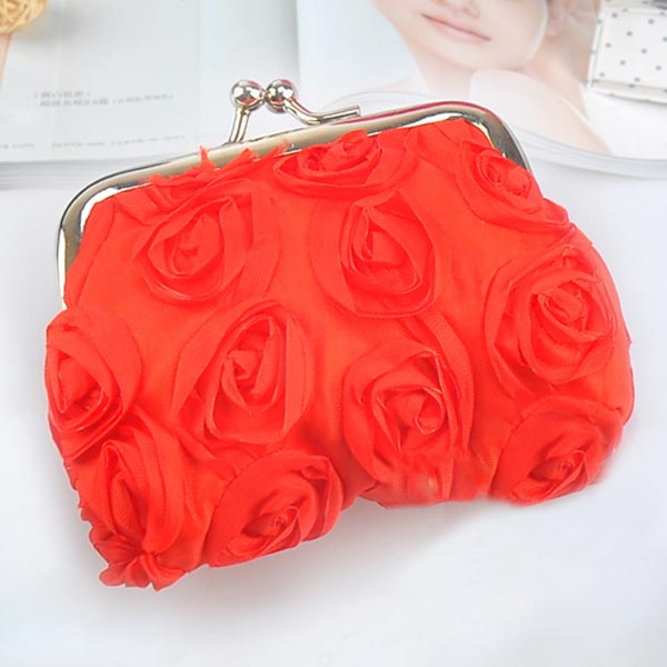 Solid Color Fashion Rose Flower Candy Color Hasp Coin Purse Women Wallet Small Gift Red