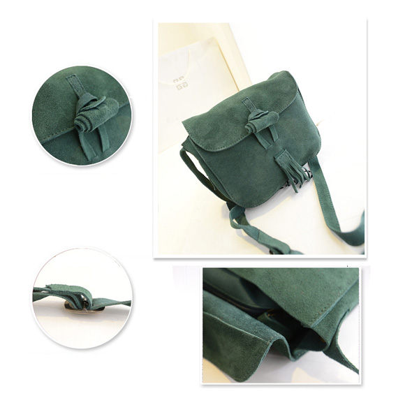 New Retro Female Bag Matte Leather Tassel Small Bag Shoulder Bag Crossbody Bag