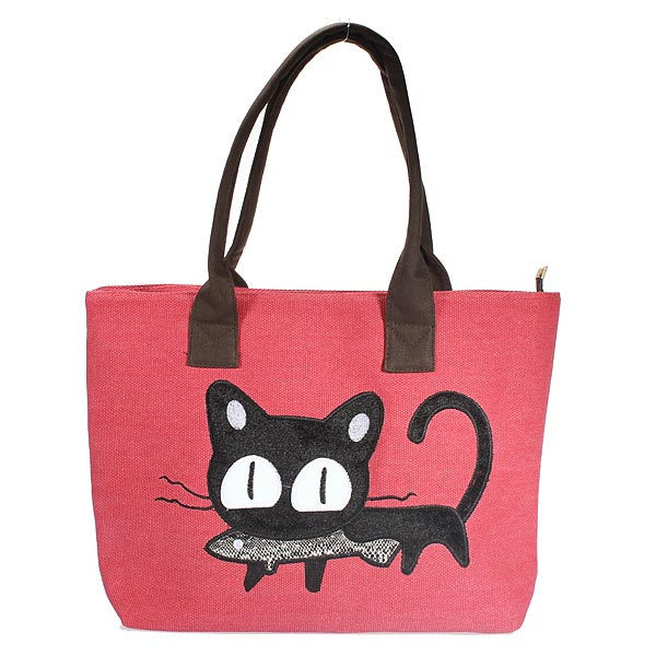 Ladies Casual Cute Cat Print Shopping Bag Lunch Bag Women Handbag