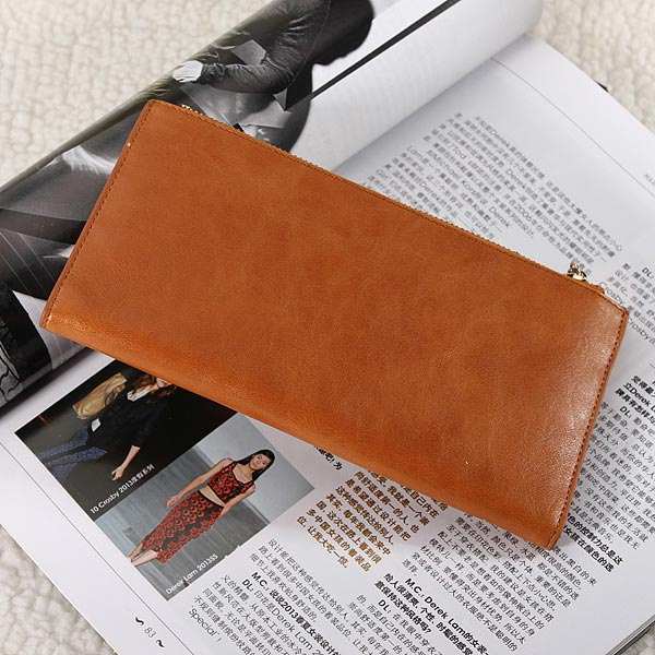 Women Men PU Leather Zipper Long Wallet Slim Purse Credit Card Holder