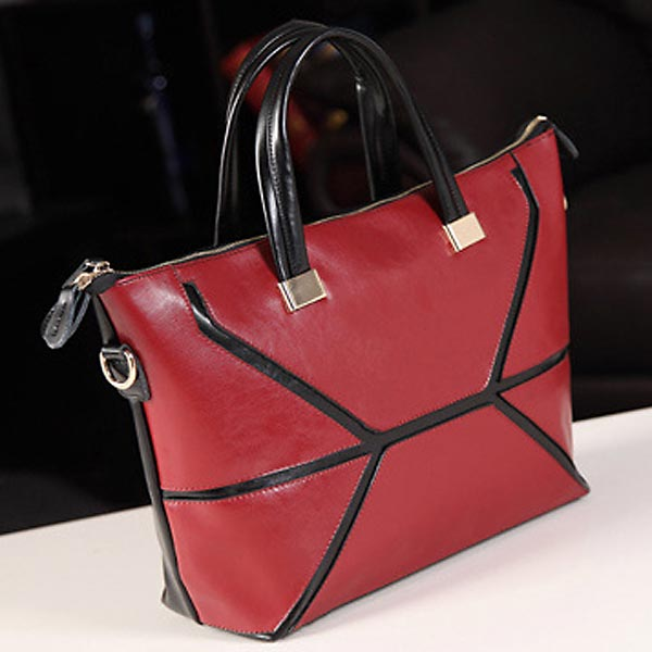 New Women Genuine Leather Handbag Stitching Hit Color Shoulder Bag