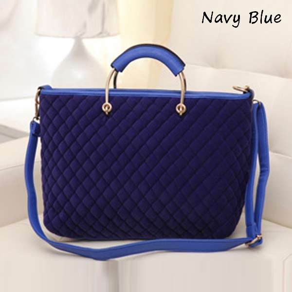 Fashion Velvet Women Handbag Plaid Shoulder Bag Messenger Bag