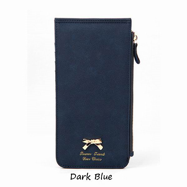 New Korean Fashion Bow Wallet Matte Leather Wallet Women Long Wallet