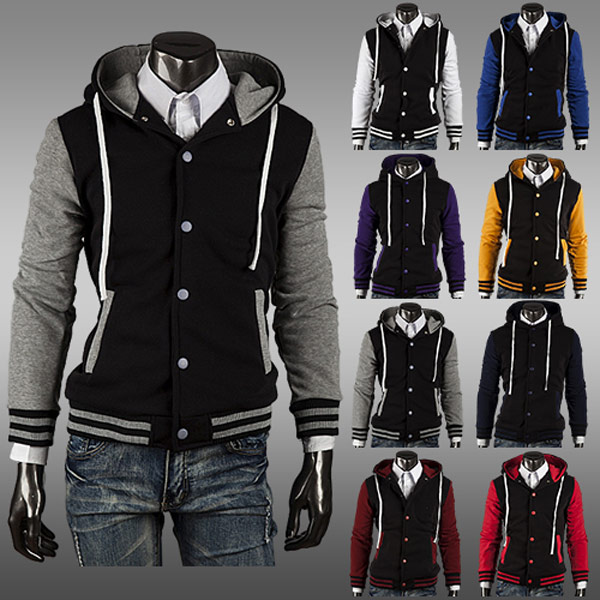 Mens Baseball Jackets Slim Fit Cardigan Hoodies