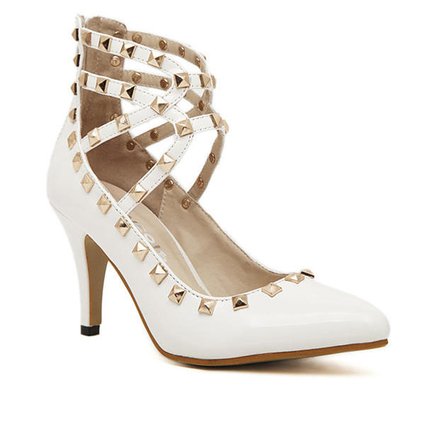 Women Sexy Pointed Toe Spiked Studded Buckle Stiletto High Heel Shoes