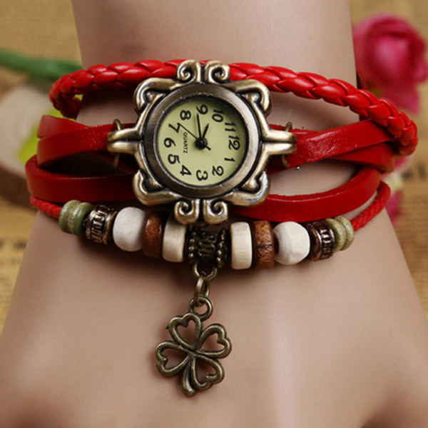 Women Four Leaf Clover Weave Pendant Bracelet Wrist Watch vinyl four leaf clover decorative wall art sticker
