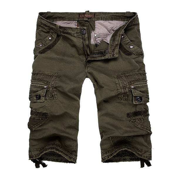Mens Multi Pockets Cotton Large Size Shorts Casual Cargo Pants