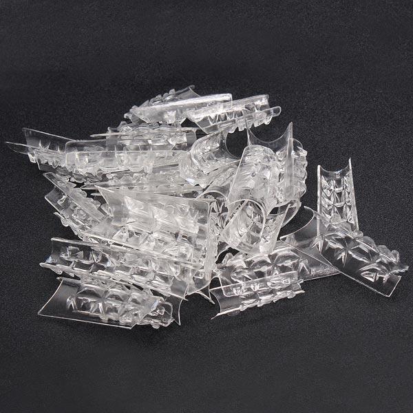 100Pcs Acrylic Transparent Crystal Mold Half Stick False Nail Tips