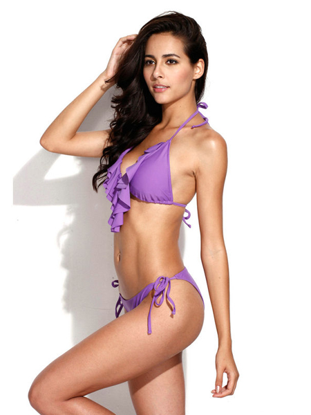 Pinkish Purple Full-Lined Ruffle Bikini Set