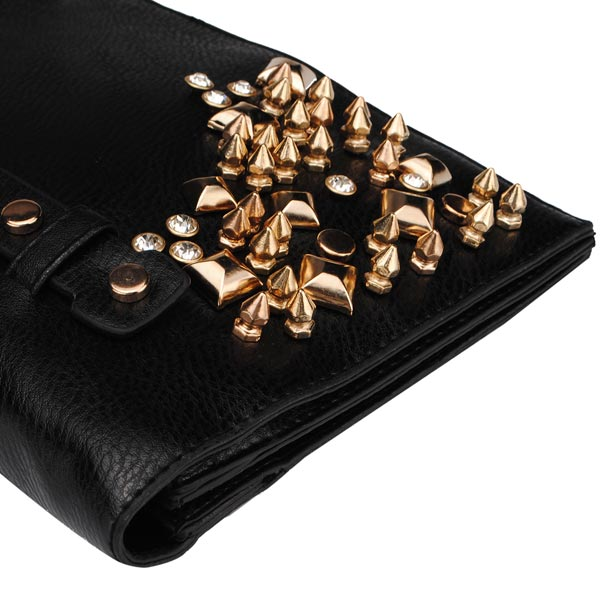 Fashion Punk Style Rhinestone Women Clubs Rivets Black Bag Clutch Bag