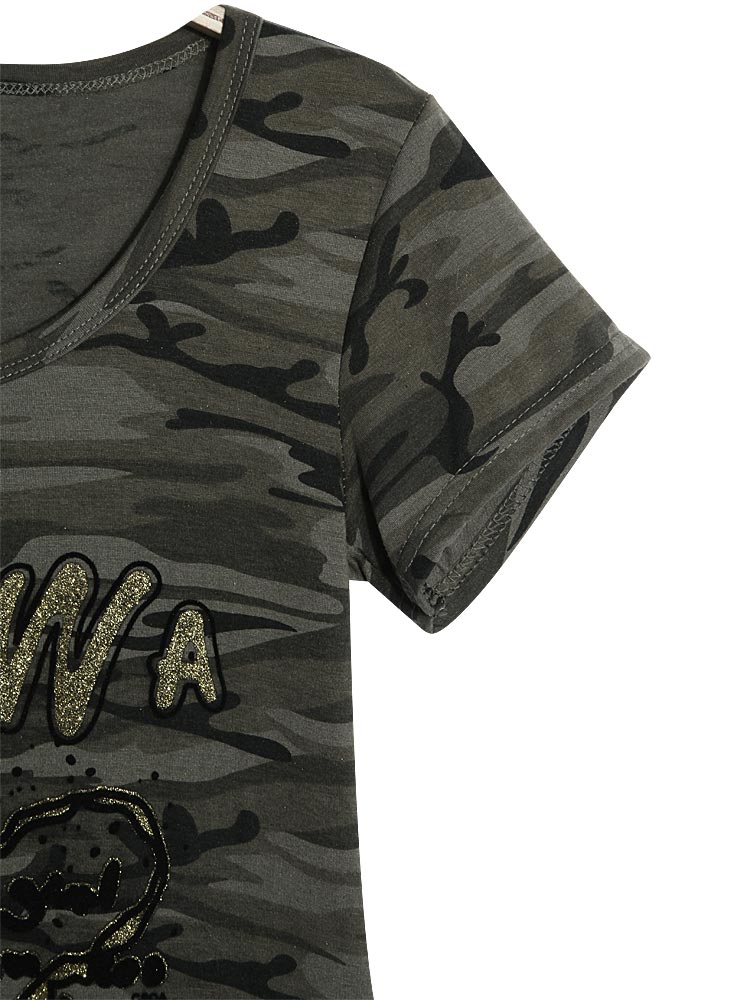 Camouflage Army Green Short Sleeve Round Neck Printing T-Shirt