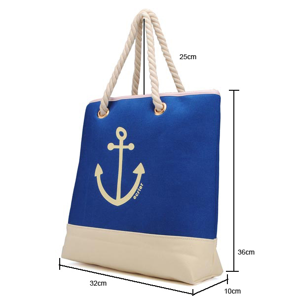 Fashion Women Sea Anchor Print Handbags Blue Canvas Bags Shoulder Bags