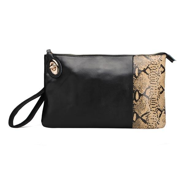 Fashion Women Genuine Leather Bag Snake Print Black Clutch Bag