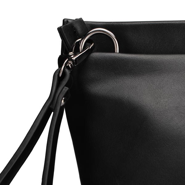 Women Black PU Leather Clutch Bag Handbag