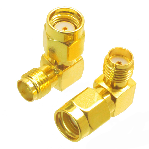 SMA Female to RP-SMA Male Right Angle Adapter Connector 5watt 0 30db coaxial adjustable key press sma k k rf step attenuator stepping dc to 2 5ghz freeshipping