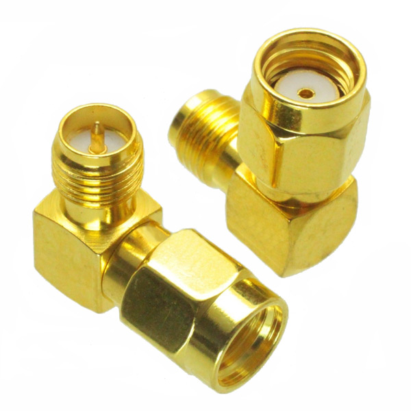 RP-SMA Male to RP-SMA Female Adapter Right Angle RF Connector 1pc adapter f tv plug male to sma male connector straight m m antenna auto radio