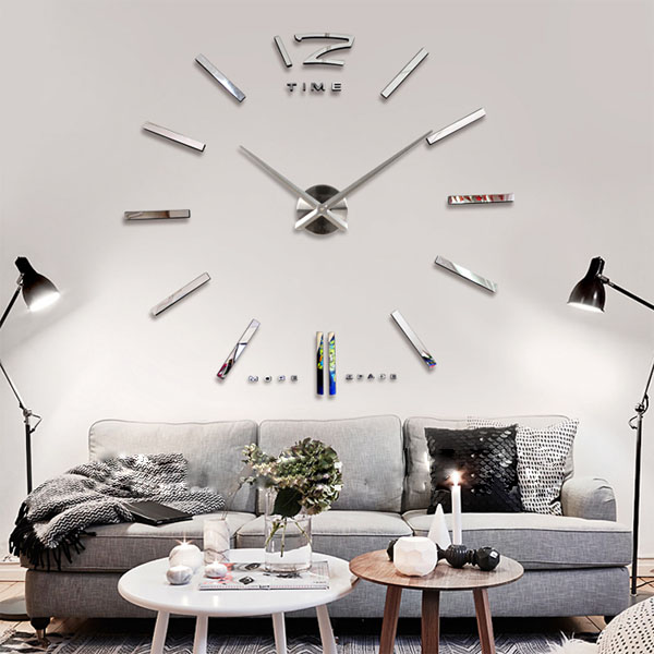 Buy Big Large DIY Frameless Wall Clock Kit 3D Mirror Decoration Silver