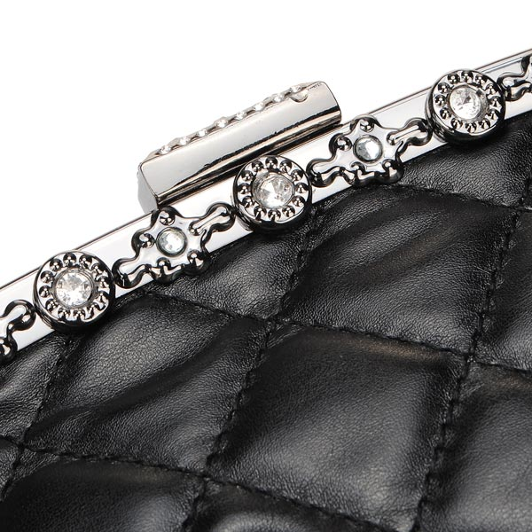 Black Skull Crystal Design Women's Handbag Clutch Bag
