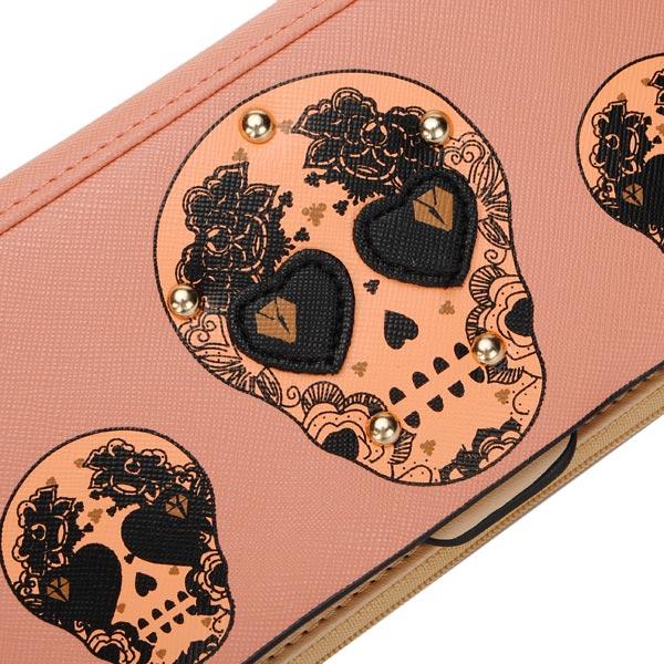 Women Leather Skull Rivet Long Wallet Purse