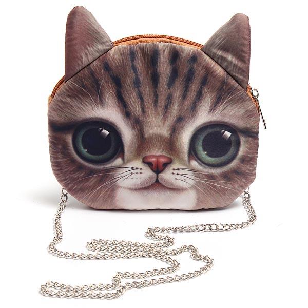 Women Cute Cartoon Cat Head Pattern Shoulder Bag Chain Cross Body Bag