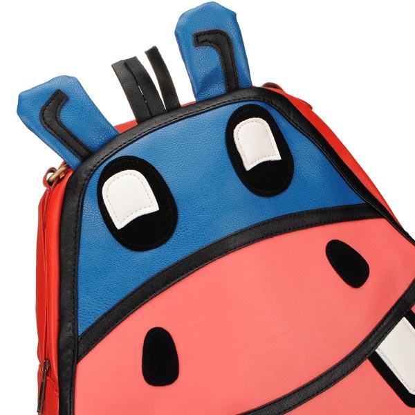 Fashion Cute Animal Hippo Pattern Girls Backpack Pu Leather Schoolbag