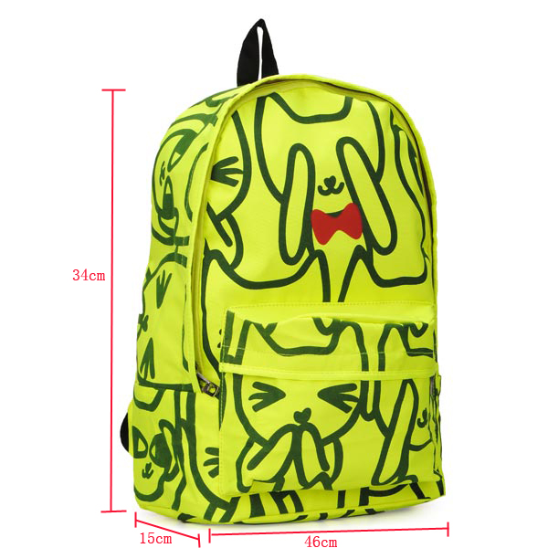 Cute Cartoon Kitten Fluorescent Green Preppy Style Backpack