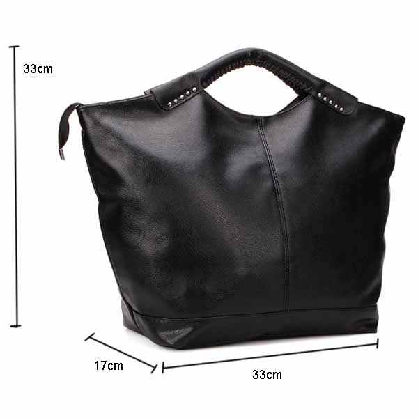 Women Leather Rivet Big Handbag Tote Shoulder Bag
