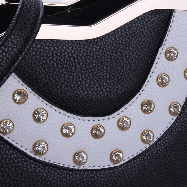 Fashion Elegant PU Leather Rhinestone Decorated Handbag Crossbody Bag