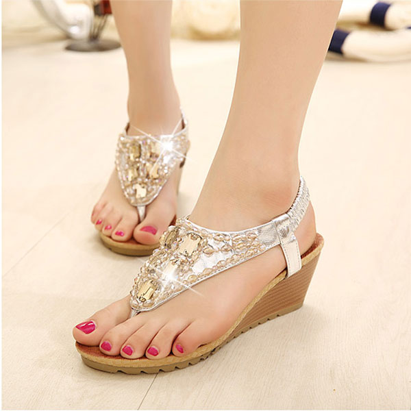Wedge Heel Beaded Rhinestone Sandals