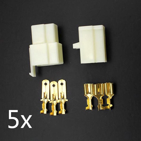 5 x Motorcycle Scooter Male Female 3 Way Connectors 6.3mm Terminal
