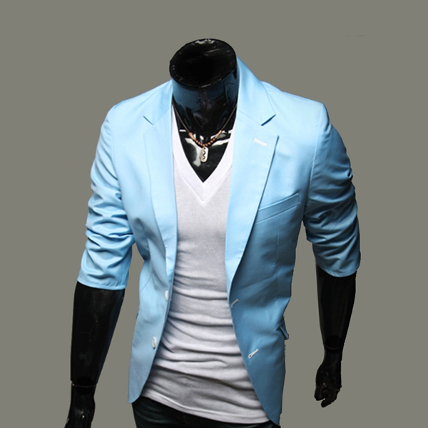 Mens Mid-sleeved Summer Fashion Solid color Slim Fit Suit