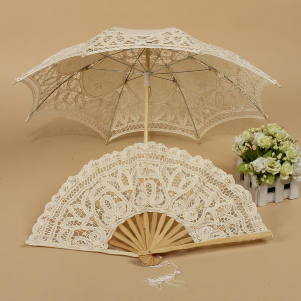 Handmade cotton lace parasol umbrella hand fan party for Decor umbrellas