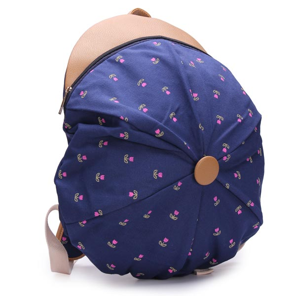 Women Lovely Cap Pattern Canvas Bag Backpack Flowers Rucksack
