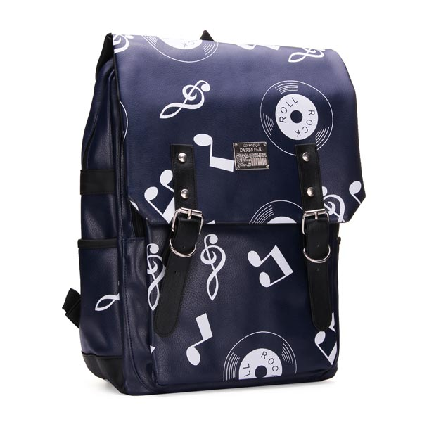 New Street Style Pu Print Musical Notes Backpack Girls Schoolbags