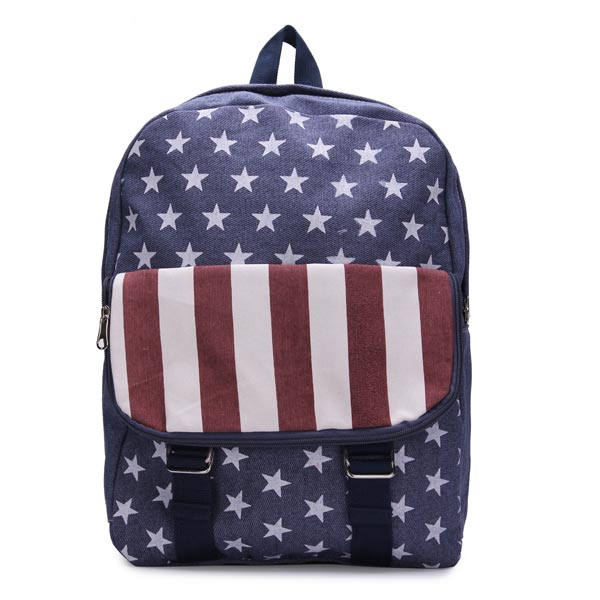 Fashion Girls Stripes Canvas Backpack American Flag Students Schoolbag