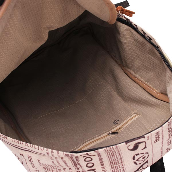 Fashion Unisex Vintage Newspaper Print Canvas Schoolbag Backpack
