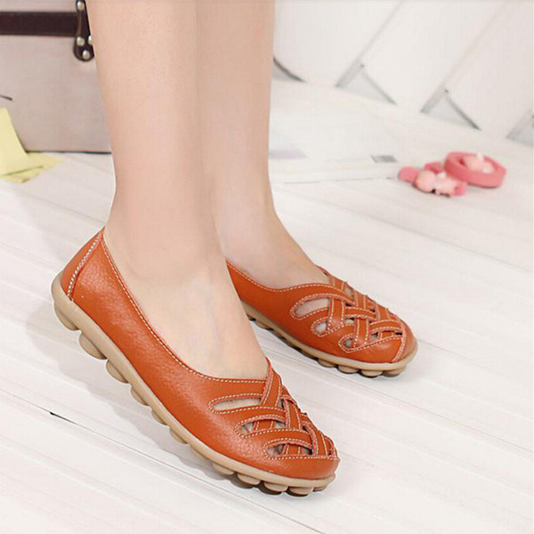 Hollow Out Leather Flat Casual Shoes