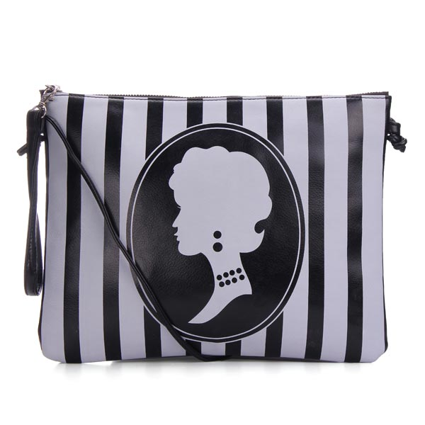 Fashion PU Leather Vertical Stripes Beauty Pattern Clutches Bag