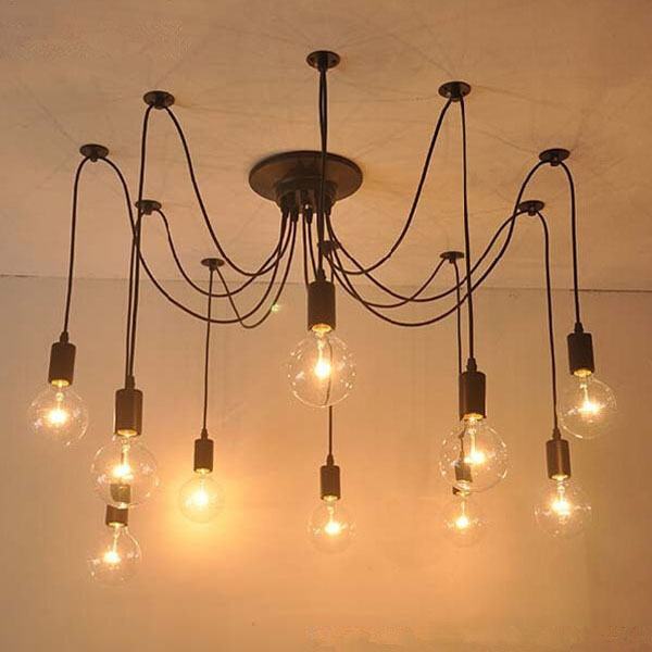 10 Lights Edison Retro Spider Chandelier Pendant Light 110