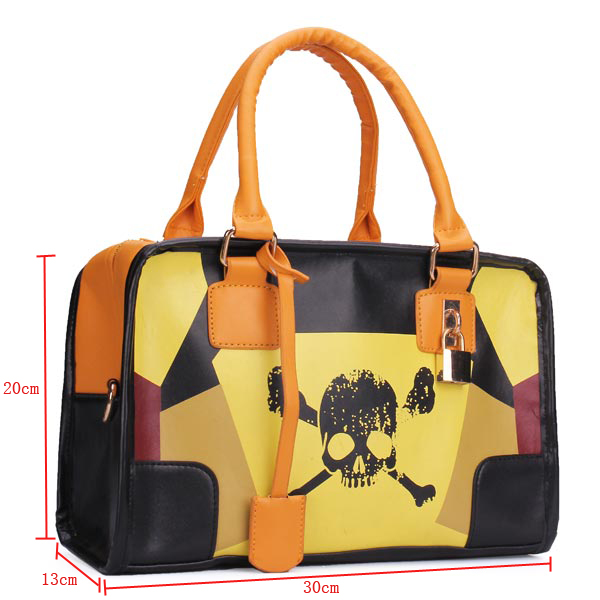 Retro Patchwork Skull Lock Decorated Handbag Crossbody Bag
