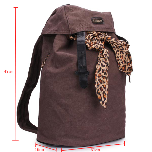 New Fashion Preppy Style Deep Coffee Canvas Silk Scarf Backpack