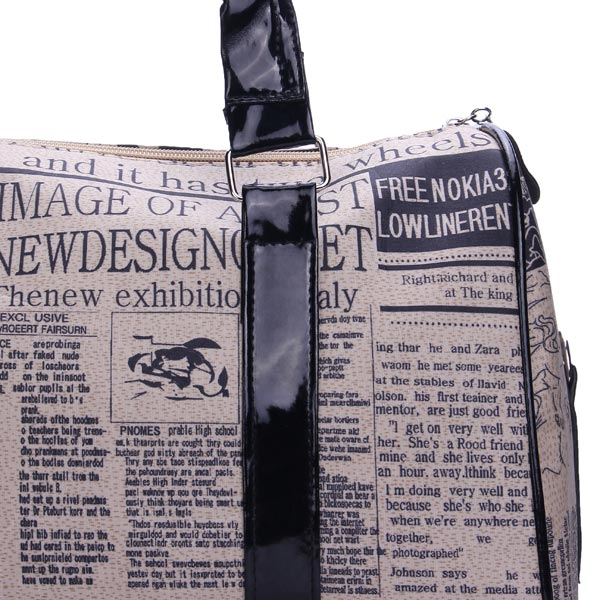 Fashion Retro Newspaper Printing Pattern Handbag Crossbody Bag