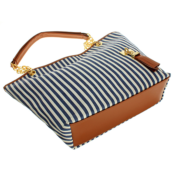 Zanzea Lady Vertical Stripe Tassel Linen Shoulder Handbag