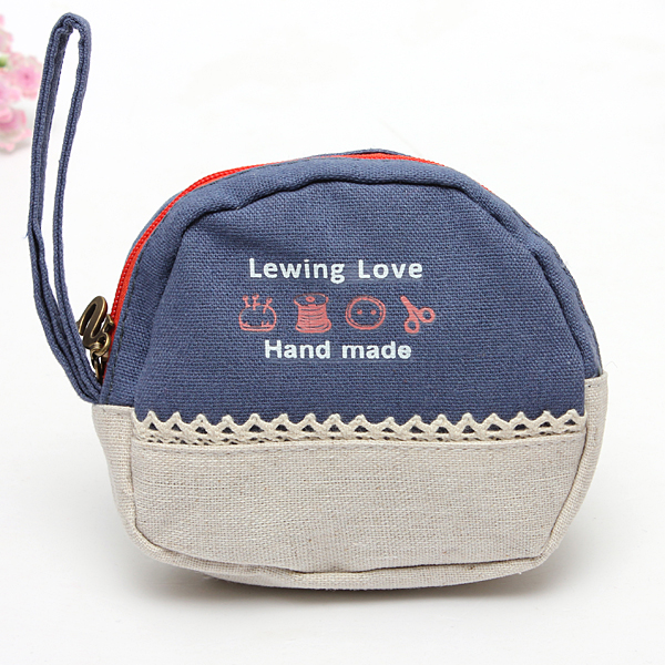Canvas Cute Cartoon Oval Letters Printing Cash Card Coin Wallet Purse