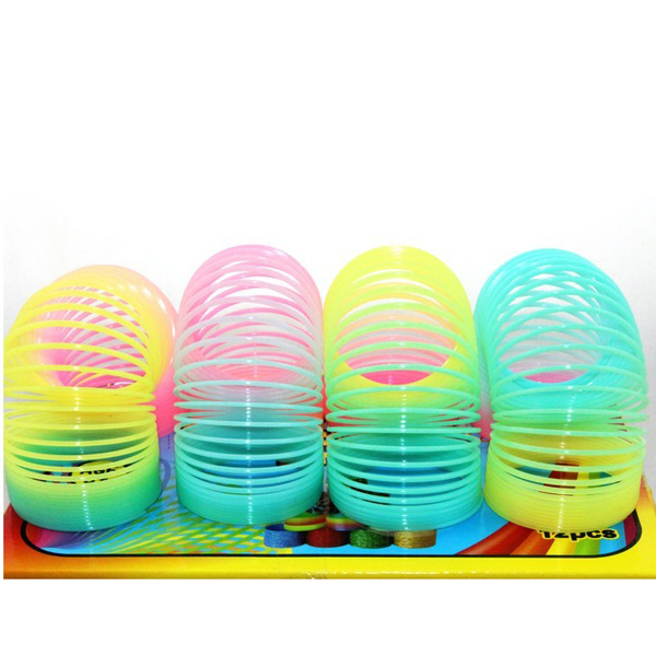 2PCS Classic Toy Noctilucence Rainbow Ring Plastic Spring Coil Toy