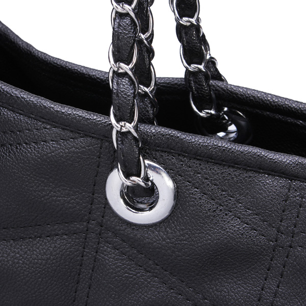 Fashion Black PU Leather Sewing Thread Plaid Handbag Shoulder Bag